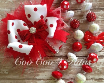 Red and white valentines bow and necklace set
