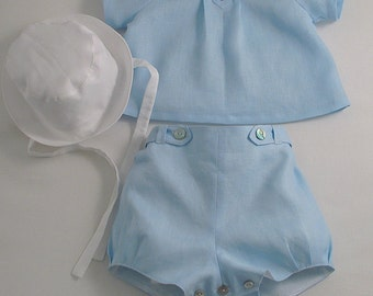 Ice Blue Linen suit and Hat for a Baby Boy