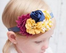 plum, mustard, and navy chiffon baby headband newborn girl hairbow bow m2m sweet honey els