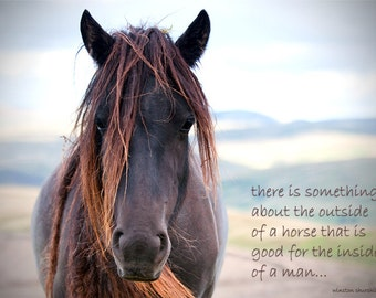 Inspirational quotation, horse photo with quote, rustic decor, equine art, choice of sizes