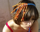 lauren / tangerine headband / orange necklace / orange and blue textile necklace / fabric necklace / fiber art headpiece