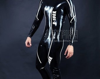 """Best Man Gift / Moto-Style Suit-details """"4""""  /  Sexy Cool&Tight Man Latex Clothing,Latex Catsuit"""