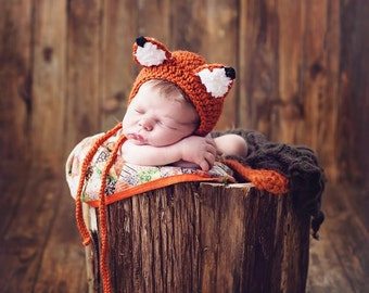 Crochet Fox Bonnet-Newborn to 0-3 Months-Photo Prop