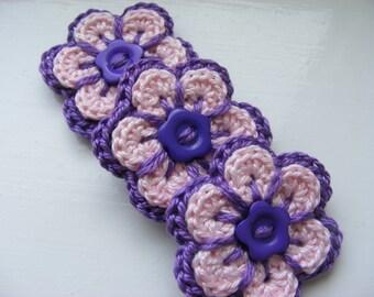 Crochet flower applique, crochet flower motif, crochet flower x 3, UK Handmade