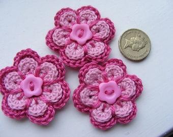 Crochet flower appliqué, crochet appliqué, fuchsia pink flower, baby pink flower, appliqué x 3