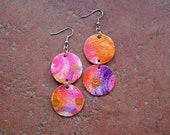 Fruity fusion handpainted canvas drop earring - lightweight - fuchsia orange purple and gold - double sided discs