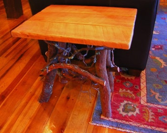 "Rustic Handmade End Table Log Cabin Adirondack Furniture by J. Wade, cherry 22"""