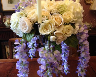 Artificial Flowers Vintage Style Cream Rose Wisteria Candelabra Wedding Table Decoration
