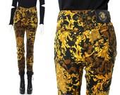 Vtg 90s Gianni VERSACE Medusa High Waist Royal Baroque Print Skinny Jeans Pants S M