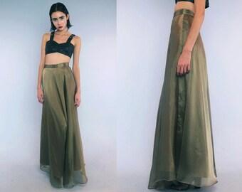 Vtg 90s Gold Metallic Minimal Flowy Tiered Maxi Skirt Gown S M