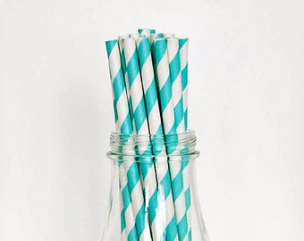25 Teal Striped Paper Straws Retro Vintage Style Carnival Circus Wedding Birthday Bridal Baby Shower W/ Printable Flags Ready to Ship