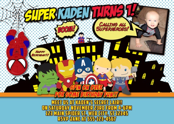 Superhero Birthday Party Invites with great invitation layout