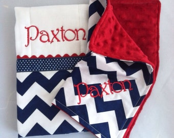 Personalized Burp Cloth and Security Blanket Gift Set...Navy Chevron with Red Minky...Shower Chic