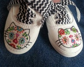 Hello Kitty inspired Day of the Dead on Vans Toms Converse Keds shoes