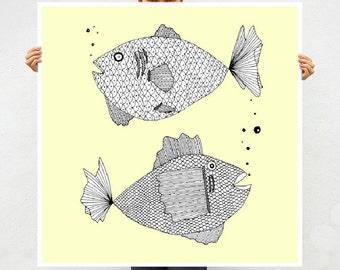 Two Yellow Fish Art Print - Home Decor - Modern Contemporary Art -  Goldfish - Square Giclee Archival Print