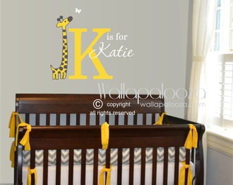 Giraffe wall decal - custom name wall decal - nursery wall decal - giraffe nursery decal - name decal