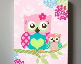 Floral Owl Nursery Wall Art - OWL canvas art, Pink  Floral Baby Nursery , Owl Nursery Wall Decor