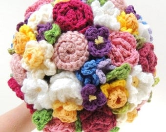 Keepsake Crochet Wedding Bouquet - Bright Spring Colors, Elopement, Alternative Bouquet, Eco Bouquet