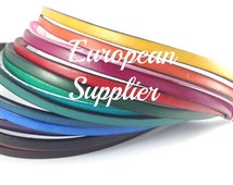 5mm Blue flat leather cord - Wholesale supplies - 1 meter - Black, camel, red, choose color - Top Quality - Hand tooled crafted - Genuine