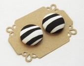 Button Earrings Stud Earrings Fabric Button - Zebra Print Earrings -  Hypoallergenic Earrings
