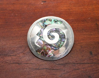 Taxco Mexican Silver Abalone Pendant Pin