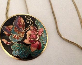 Vintage Cloisonné Enamel Butterfly Necklace.