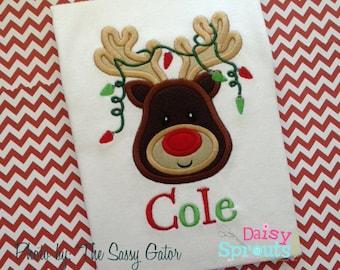 Reindeer in Christmas Lights Applique Instant Download