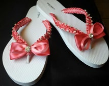 Coral Wedding Beach Flip Flops. Pearls flip flops  bride flip flops. Wedding Party