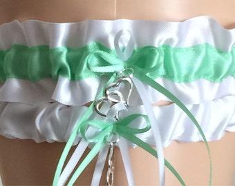 Wedding Garter Set, Bridal Garter Set, Mint Green and White Garter Set, Keepsake Garter,