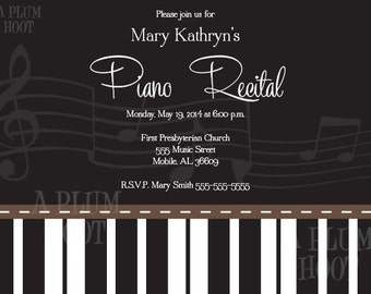 Piano Recital Invitation (Personalized, DIY, 5X7 Printable)