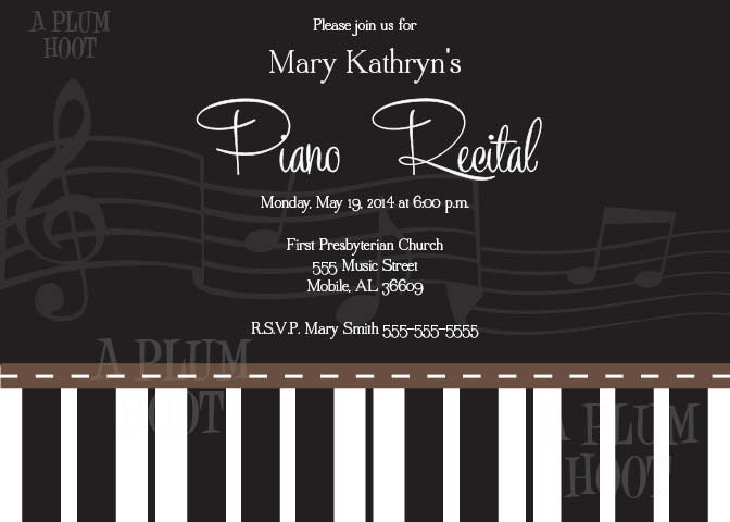 Piano Recital Invitation Personalized Diy 5x7 Printable