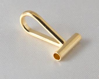 2 pcs - Horizontal Brooch, Pin Converter Gold