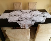 Large white oval table centerpiece lace crochet handmade