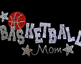 Basketball mom with stars rhinestone iron on transfer hotfix bling DYI - 9 inches by 5 inches