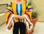 SERAPE OR PONCHO Made from Mexican Serape Cloth - Unisex, One Size, Brilliant Yellow with Fringe on sleeves