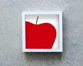 Apple art print, red poster, red apple, fruit wall art, kitchen decoration, square art print, modern art