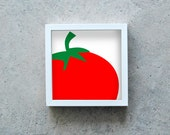 Red tomato art print, vegetable poster, veggie wall art, kitchen decoration, healthy diet, square art print, modern art