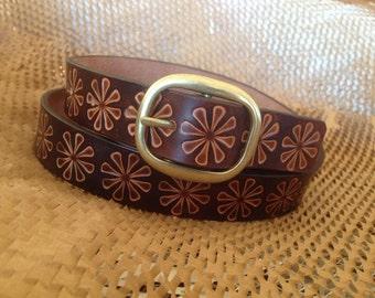 Dark Brown Leather Belt With a Vintage Burst Design