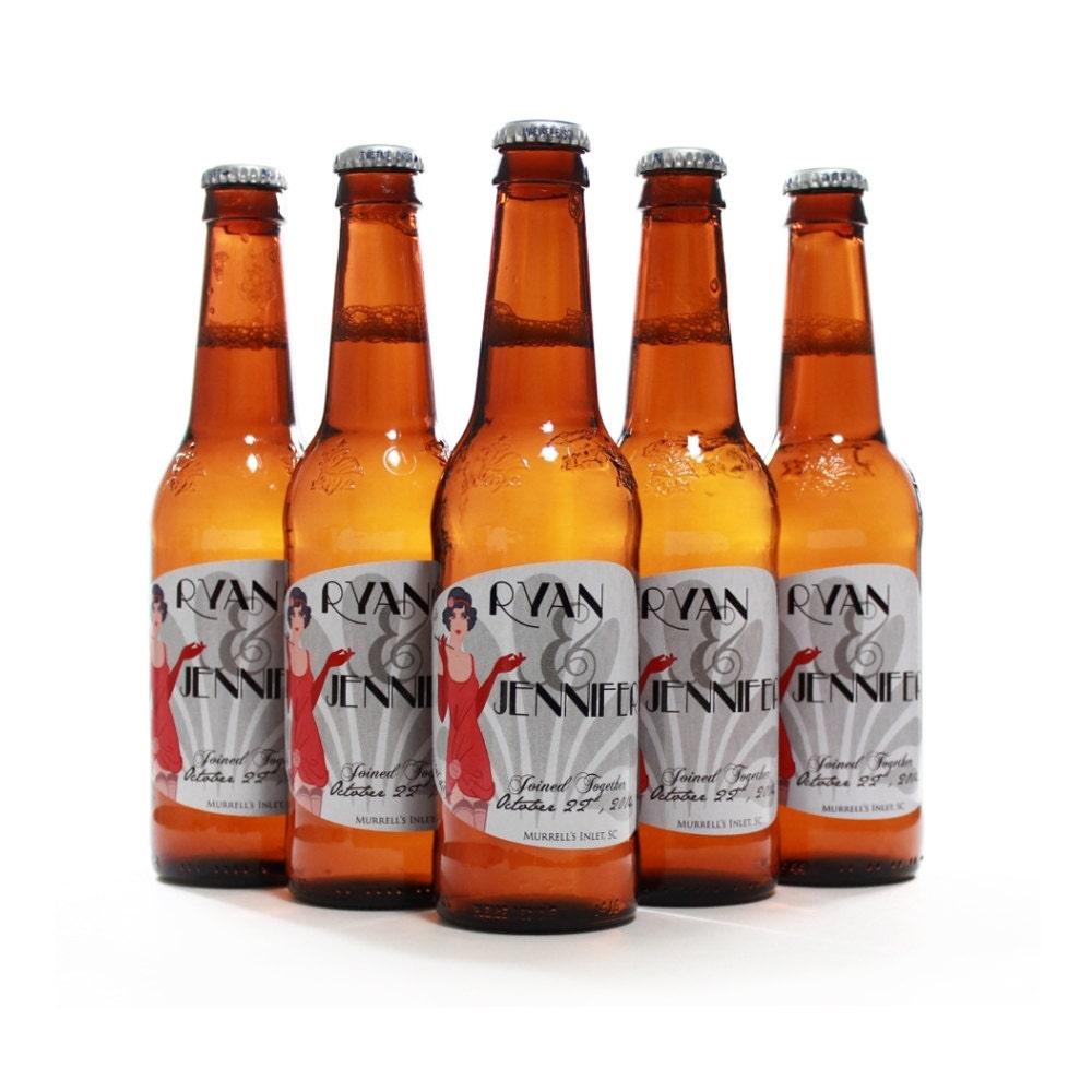 Custom Beer Bottle Labels Personalized Wedding By: Custom Wedding Favor Beer Bottle Labels Roaring 20s Wedding