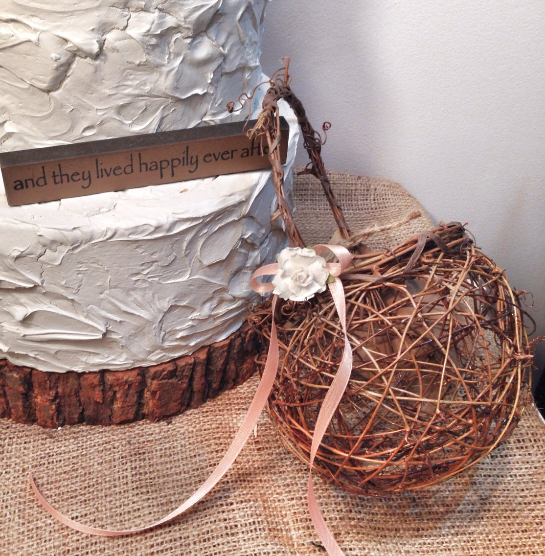 How to make a flower girl basket from scratch : Rustic twig flower girl basket by theoriginaltwig on etsy