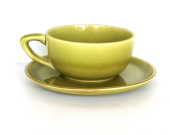 Vintage Russel Wright Avocado Green Cup and Saucer