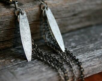 Metal Leaf & Chain Earrings