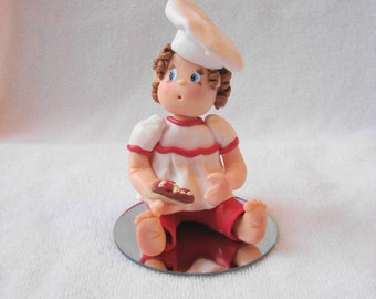 A Custom Polymer Clay Little Girl Birthday Cake Topper/Ornament/Figurine. A  Hand Crafted Art Sculpture.