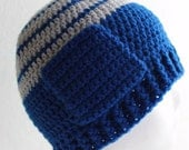Fun Pocket Hat Crochet Soft Navy and Grey Stripe Cap One Size Fits Most Skullcap Ready To Ship