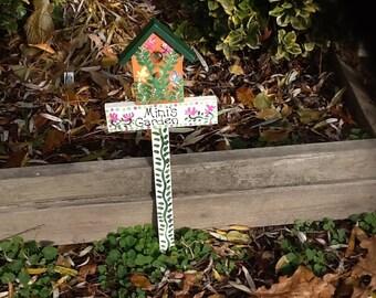 Personalized birdhouse garden stake lawn ornament