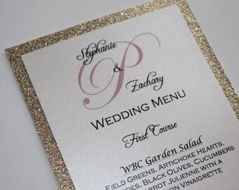 Gold Glitter Menu/Wedding/Anniversary Dinner Menu