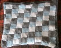 Tunisian Crochet Entrelac Squares Baby Blanket Afghan Nursery Decor Blue Gray White