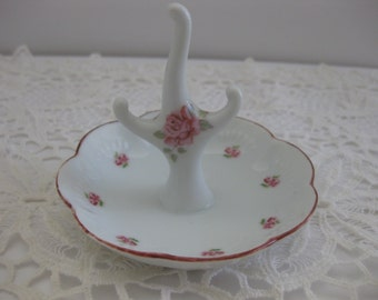Ring & Jewelry Holder Dish Hand Painted Pink Roses On White