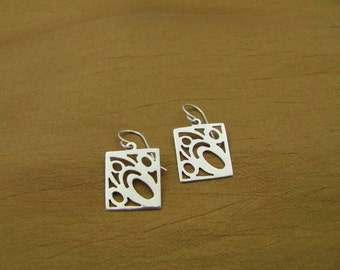 Sterling Siver Square Dangle Earrings
