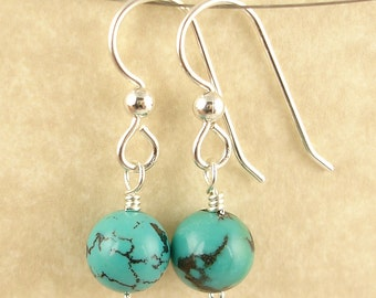 Natural Turquoise Dangle Earrings on Sterling Silver Best selling Gemstone Jewelry